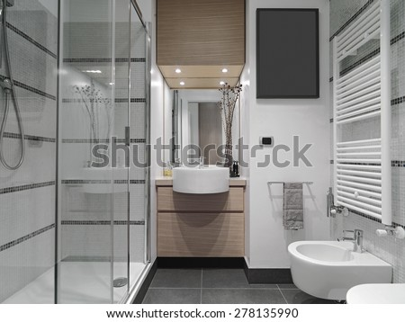 interior view of a modern bathroom with glass shower cubicle