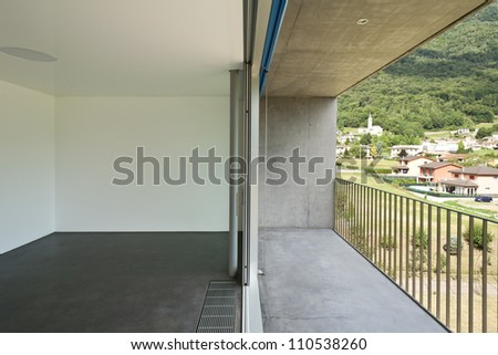 interior, view of a modern hotel room - stock photo