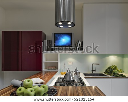 interior view of a modern kitchen in the foreground the cooker and appliances