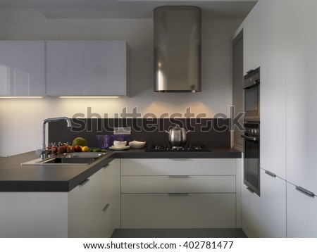 interior view of a modern kitchen with fresh fruit on the worktop near at sink