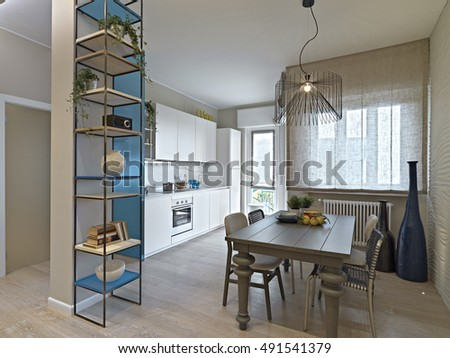 interior view of a modern living room in foreground the dining table overlooking on the kitchen - Interior Design Living Room Modern