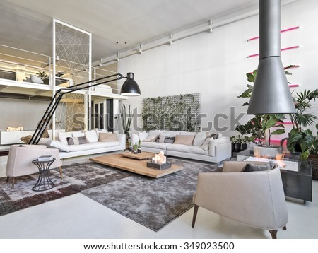 interior view of a modern living room with a fireplace Bioethanol and loft - stock photo