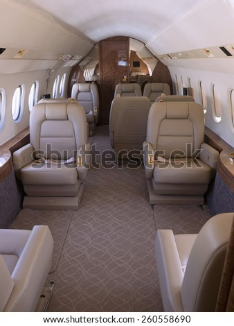 Interior view of a private jet