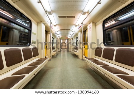 Interior view of a subway car in Moscow - stock photo