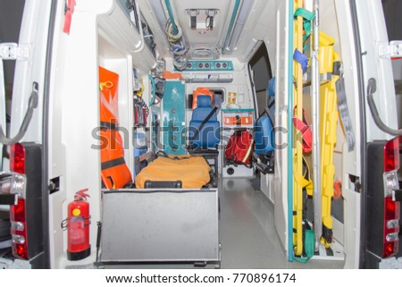 Interior view of ambulance that could carry a patient