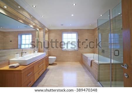 Interior View Of Beautiful Luxury Bathroom - stock photo