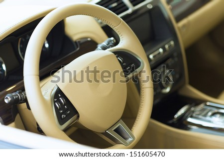 Interior view of car with leather salon - stock photo