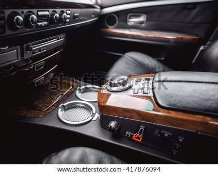 Interior view of car with leather salon.