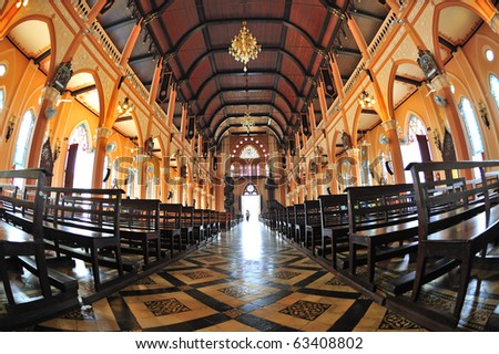 Interior view of church in Chanthabury province , Thailand - stock photo