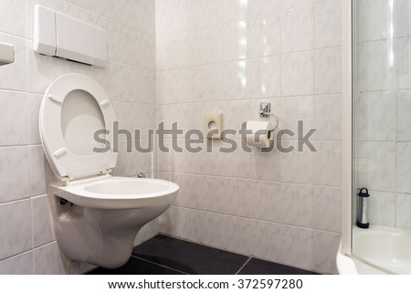Interior view of luxury bathroom in white color