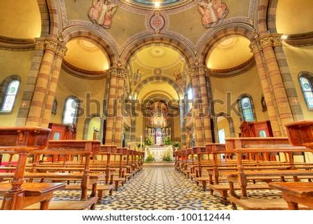 Interior view of Madonna Moretta church in Alba, Northern Italy. - stock photo