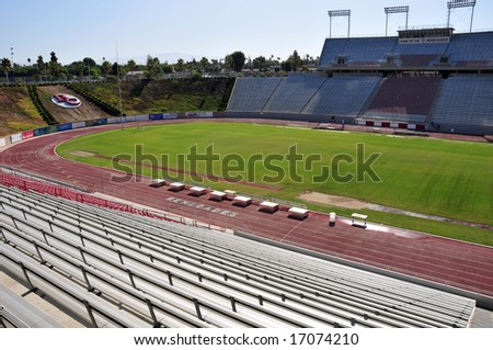 Interior view of Memorial Stadium, Bakersfield Community College, California