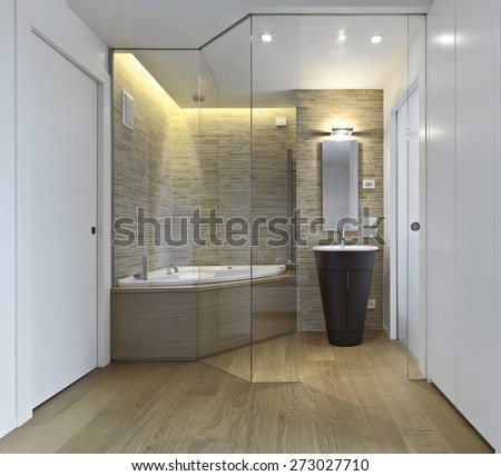 interior view of modern bathroom with wood floor overlooking on the bathtub - stock photo