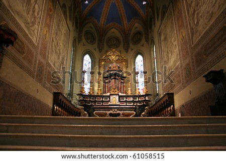 Interior View Of San Lorenzo Cathedral (Alba Italy) - stock photo