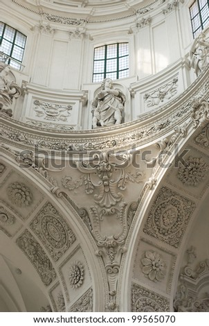 Interior View of Stucco Decoration in High Baroque Style - stock photo