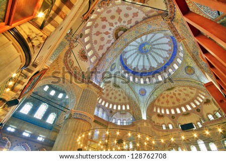 Interior view of Sultanahmet Mosque (Blue Mosque) in Istanbul, Turkey - stock photo