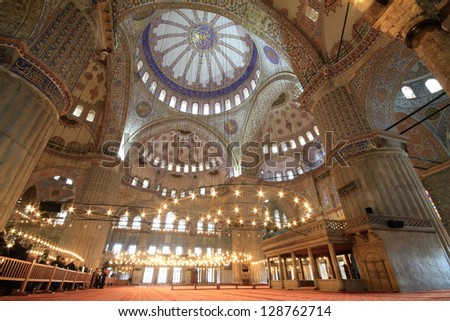 Interior view of Sultanahmet Mosque (Blue Mosque) in Istanbul, Turkey