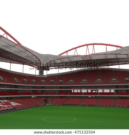Interior view of the empty Stadium Estadio da Luz isolated on white 3D Illustration