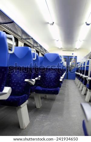 Interior view of the empty train, Russia - stock photo