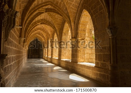 Interior view of the Monasterio de Piedra, Zaragoza - stock photo