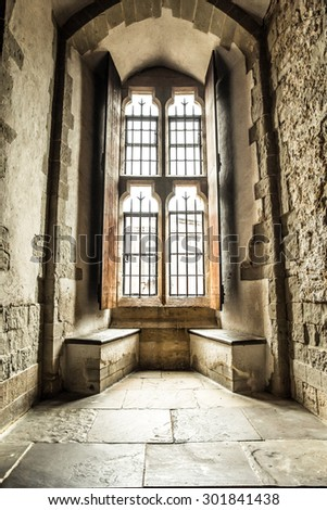 Interior view of windows in medieval stone castle - stock photo