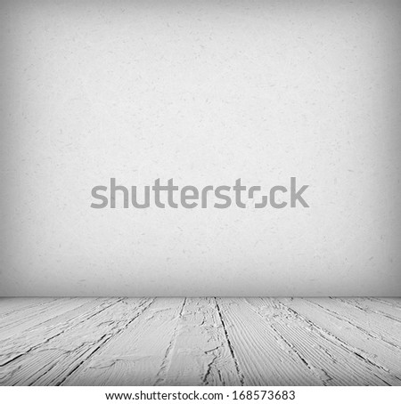 Interior, vintage background of stone wall and wooden floor
