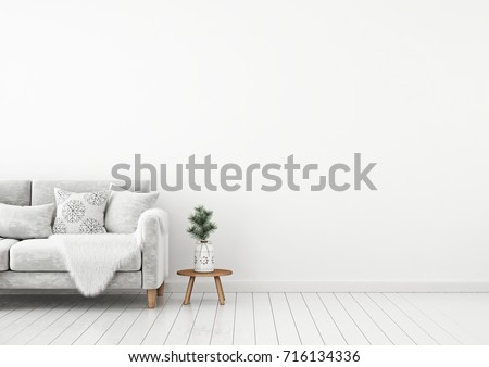 Interior Wall Mock Up With Velvet Sofa, Pillows, Plaid And Pine Branch In  Vase