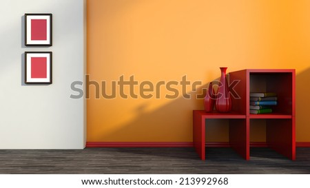 Interior wall with orange and red shelf - stock photo