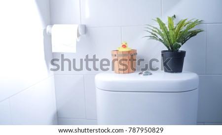 Interior White Clean Toilet Bath Room Stock Photo Royalty Free