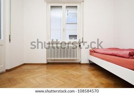 interior, white bedroom with window - stock photo