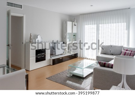 Interior white dining room