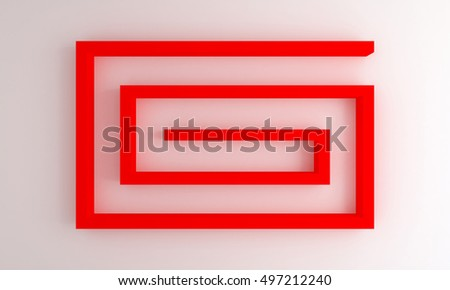 interior white wall with red shelves - 3d rendering