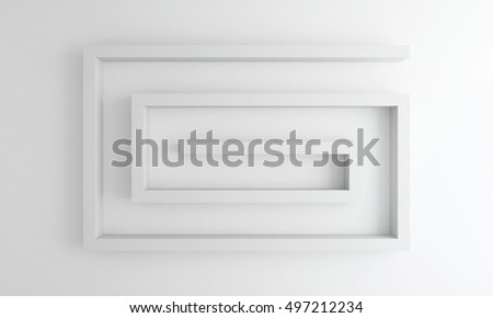 interior white wall with white shelves - 3d rendering