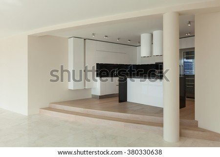 Interior,  wide room with kitchen modern design