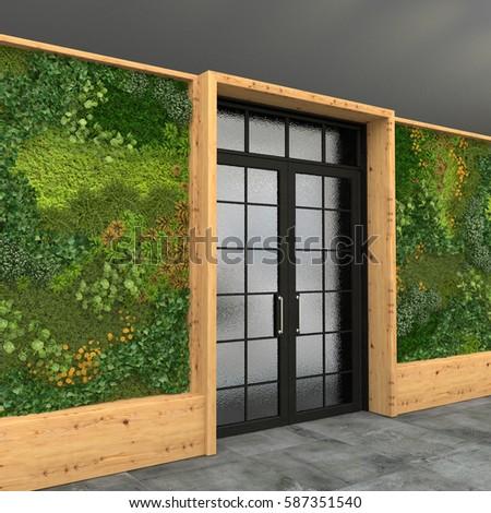 Interior Glass Entrance Door Green Wall Stock Illustration 587351540