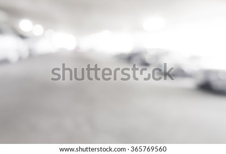interior with a parked cars - stock photo