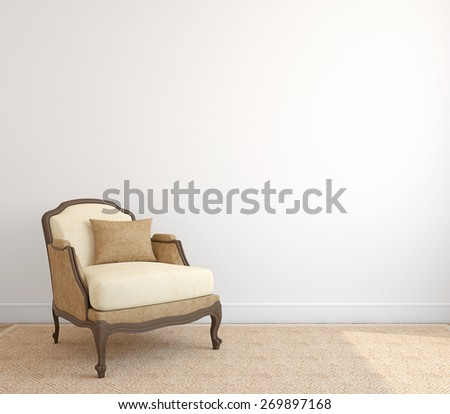 Interior with armchair. 3d render. - stock photo