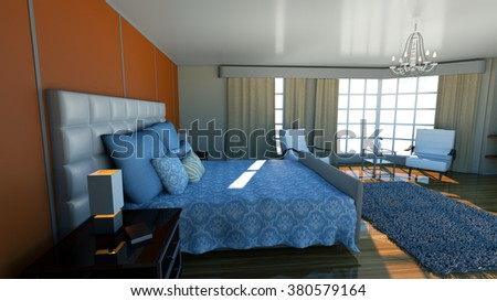 interior with bed 3d illustration