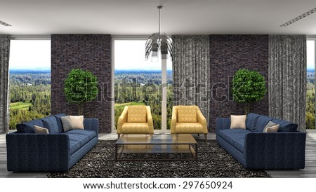 interior with blue sofa. 3d illustration