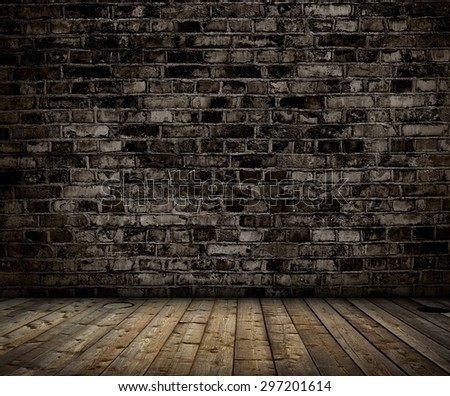 interior with brick gray wall and wood floor background - stock photo