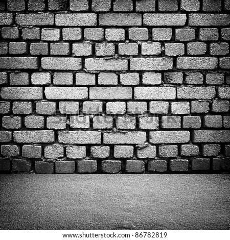 interior with brick wall - stock photo