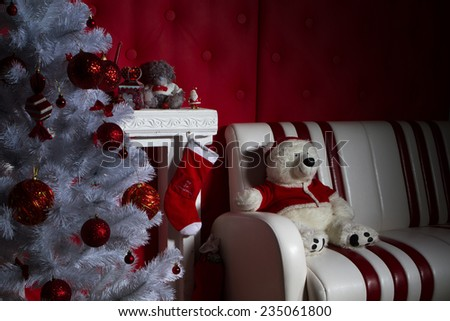 Interior with Christmas decorations. Living room. Christmas tree and fireplace - stock photo