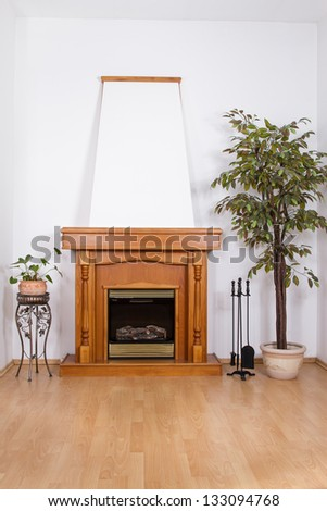 Interior with classic fireplace. - stock photo