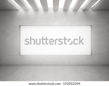 Interior with empty frames on wall - stock photo