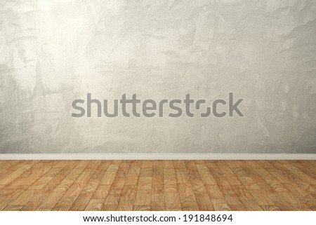 Interior with empty wall of old concrete - stock photo