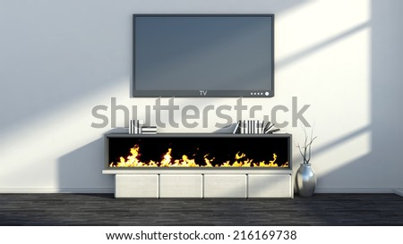 interior with fireplace, vase and tv