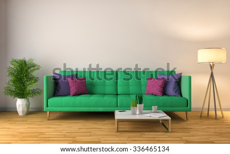 interior with green sofa. 3d illustration