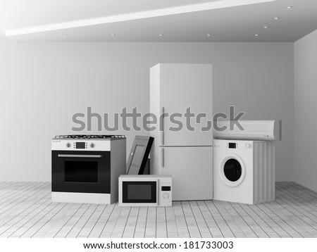 Interior with group of home appliances. Refrigerator, Gas cooker, Microwave, Cooker hood, Air conditioner and Washing machine.