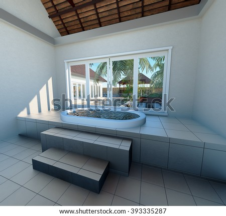 interior with Jacuzzi bathtub against panoramic window with tropical view 3D render