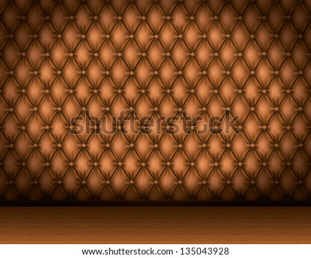 Interior with leather walls and wooden parquet. Rasterized illustration. Vector version in my portfolio - stock photo